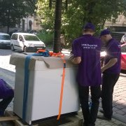 Transportation and loading the boiler in Lviv
